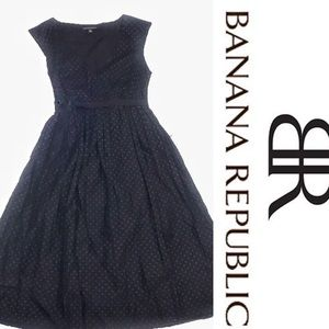 Banana Republic Black Polka Dot Knee Length Dress